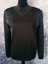 SEED Jumper/Top- Black Quilted Satin Stretch Long Sleeve Splice Ponte- S/M/12/14