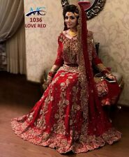 Gold Red Silk Lehenga Lengha Choli Chunri Saree Sari Attractive Ghagra Maxi New