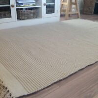 Hand Loomed Cotton Jute Natural Beige Off White Pin Stripe Rug