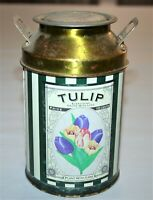 """Peony And Tulip Canister Collectors Tin Striped """"Everything Grows with Love"""""""