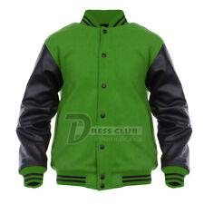 Genuine Leather Black Sleeves and Wool Letterman Baseball College Varsity Jacket