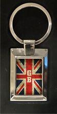 Union Jack Flag (distressed style) GB  - high polished metal keyring