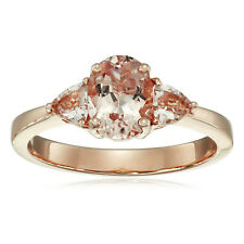 Pinctore 14k Rose Gold Morganite Oval and Trillion 3-Stone Ring, Size 7