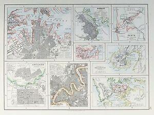 OLD ANTIQUE MAP AUSTRALIA NEW ZEALAND CITY PLANS c1900 SYDNEY PERTH  AUCLAND