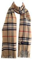 New Winter Womens Mens 100% Cashmere Wool Wrap Scarf Plaid Scarves Beige (#07)