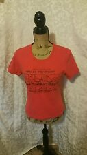 AUTHENTIC HARLEY-DAVISDON RED TEE MUNSTER, IN  WOMEN'S SIZE XL   1291