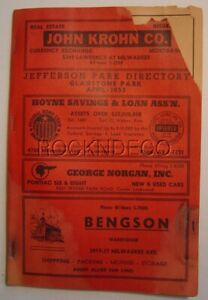 1955 Chicago Jefferson Park Telephone Book Directory Gladstone Park IL Phone