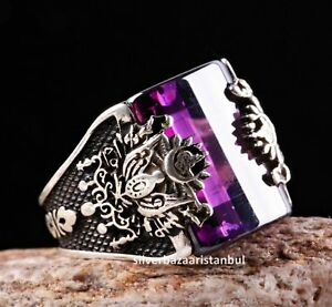Turkish handmade 925 Sterling Silver purple amethyst stone Mens ring ALL SİZE #8