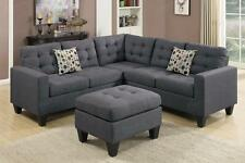 Poundex F6935 4-Pcs Blue Grey Fabric Sectional Sofa Couch Set