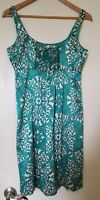 CHARLOTTE TARANTOLA WOMEN'S SILK CAMI KALEIDOSCOPE GEO PRINT DRESS TEAL TAN  S