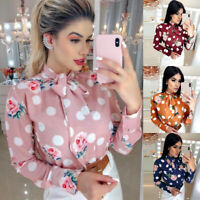Women Elegant Shirt Dot Printed Tie Long Sleeve Tops Work Casual Blouse T-shirt