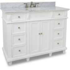 "48"" Modern Classic White Single Bathroom Vanity With White Marble Top & Sink 48"