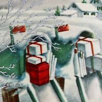 Vintage Mid Century Christmas Greeting Card Snowy Mailboxes Stuffed With Gifts