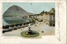 1901 Lugano - Vista panoramica  SEGNATASSE 10 CENT. !!! FP COL VG ANIM