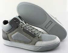 Men's LANVIN 'Textured' Grey Leather Suede Sneakers Size US 12 UK 11