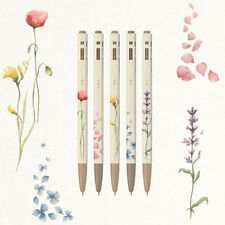 Monami - 153 Flower 5 Ballpens Set Black Ink Ball Ponit Pen Fine Tip 0.5mm Gift