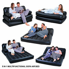 NEW 5 IN 1 INFLATABLE MULTIFUNCTIONAL DOUBLE AIR SOFA COUCH LOUNGER BED MATTRESS