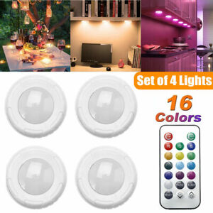 4PCS LED Kitchen Under Cabinet Lights Closet Cupboard NightLamp Dimmable Remote
