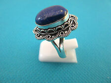 925 Sterling Silver Ring With Natural Blue Lapis Lazuli UK Q, US 8.5 (rg2413)