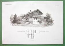 ARCHITECTURE PRINT : Potsdam Glienecke Hunting Lodge Villa in Swiss Style