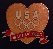 Olympic Pin Badge~Heart~USA Team-5 gold rings~Heart of Gold~NEW!!