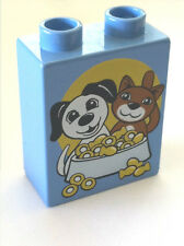 *NEW* 4 Pcs Lego DUPLO MEDIUM BLUE Brick 1x2x2 DOG & CAT with FOOD BOWL Pattern