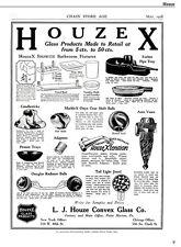 Houze Glass history, ads, patents, 1972 catalog reprint