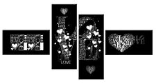 LARGE LOVE HEARTS BLACK WHITE GREY CANVAS WALL ART PICTURE SPLIT  146cm  WIDE