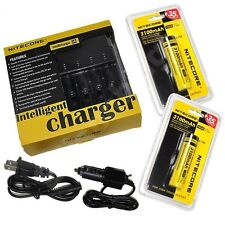 NEW NITECORE i4 V2 Intellicharge Charger w/ Two 3100mAh 18650 NL188 Batteries