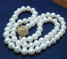 """Natural 8-9MM WHITE AKOYA CULTURED PEARL NECKLACE 18"""" 14KGP Clasp AAA"""