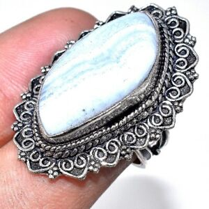 """Lovely Lace Blue Agate Gemstone 925 Sterling Silver Jewelry Vintage Ring Sz 7"""""""