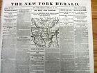 1863 Civil War newspaper with BATTLE MAP of LITTLE ROCK & PINE BLUFF Arkansas