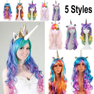 Party Unicorn Cosplay Wig Rainbow Ponytail Long Curly Wave Full Hair Fancy Dress