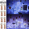 Wine Bottle Lights with Cork, 8 Pack Battery Operated LED Cork Shape Silver Wire