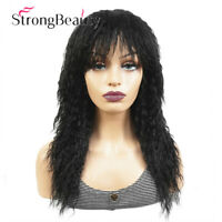 Long Afro Kinky Curly Full Wigs Black Brown Synthetic Wig African for Women