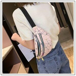 Women Waist Bags Running Belt Bag Geometric Waist Packs Laser Chest Pouch Wallet