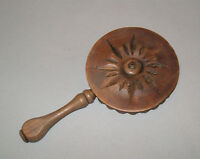 Old Antique Vtg 19th C Folk Art Hand Carved Treen Chip Small Carved Hand Mirror