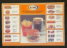 vintage Singapore A&W Family Restaurant Paper Placemats burger root beer