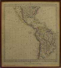 ANTIQUE MAP C. 1840, NORTH AND SOUTH AMERICA engraved by J & C Walker 19th C