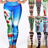 Womens Christmas Skinny Trousers Xmas Printed Leggings Workout Fitness Pants