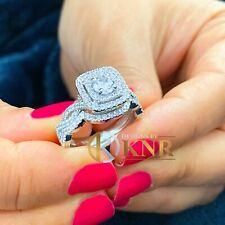 Diamond Engagement Ring And Band 1.75Ctw Heavy 14K White Gold Round Moissanite