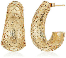 "Italian 10K Yellow Gold Earrings 1"" Dangle Gift Box"