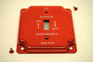 """Red Oil Burner Emergency 4"""" Square Toggle Switch Metal Plate Cover W/ Screws"""