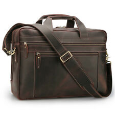 "Men Leather Briefcase 17"" Laptop Messenger Shoulder Bag Weekend Travel Luggage"