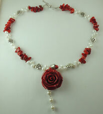 Red Coral & Pearl  Necklace with Red Rose flower Handcrafted stylish Jewelry