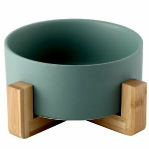 Cat Ceramic Food And Water Feeder Colored Pet Bowl w/ Wooden Stand Home Supplies