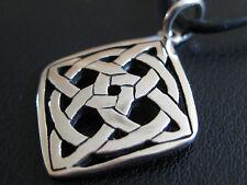 Keltischer Knoten 925'er Silber + Echtlederband Ketten Anhänger  / KA 828