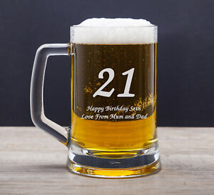 Personalised 18th 21st 30th Birthday Gifts Male Men Boys Engraved Pint Glasses