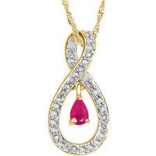 1,75KT 585er Gelbgold Natürlich Rot Rubin EGL Zertifiziert Diamant Anhänger