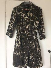 Leopard Print Double Breasted Tie Belt Mac Coat UK 8